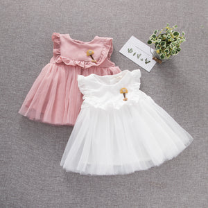 Toddler Girls Pure Cotton Mesh Princess Dress Solid Color Dress