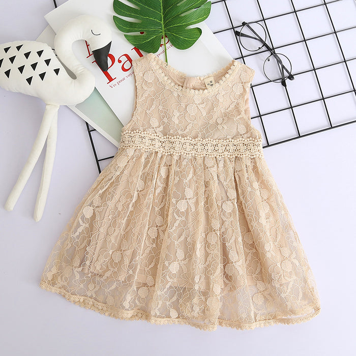 Girls Lace Mesh Dress Round Neck Sleeveless Princess Skirt