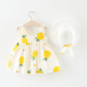 Toddler Girls Pineapple Suspender Dress Fashion Princess Skirt & Hat
