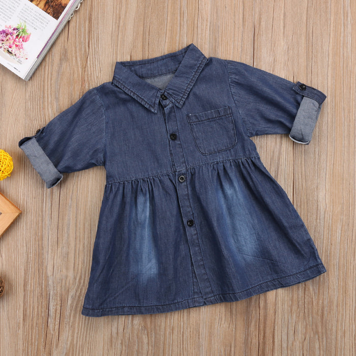 Toddler girl Denim Long Sleeve Shirt Dress