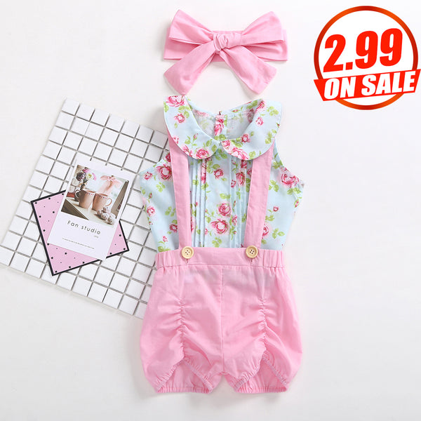 90PCS No Profit On Sale Clearance & Closeout Specials Baby Girls Sleeveless Floral Printed Top & Overalls & Headband wholesale baby clothes