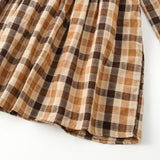 Girls Plaid Doll Collar Long Sleeve Dress Preppy Style Princess Skirt