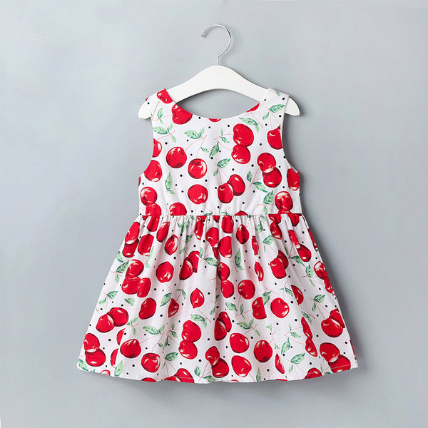 91PCS Clearance & Closeout Specials Girls Cherry Printed Sleeveless Dress Bulk Baby Girl Clothes