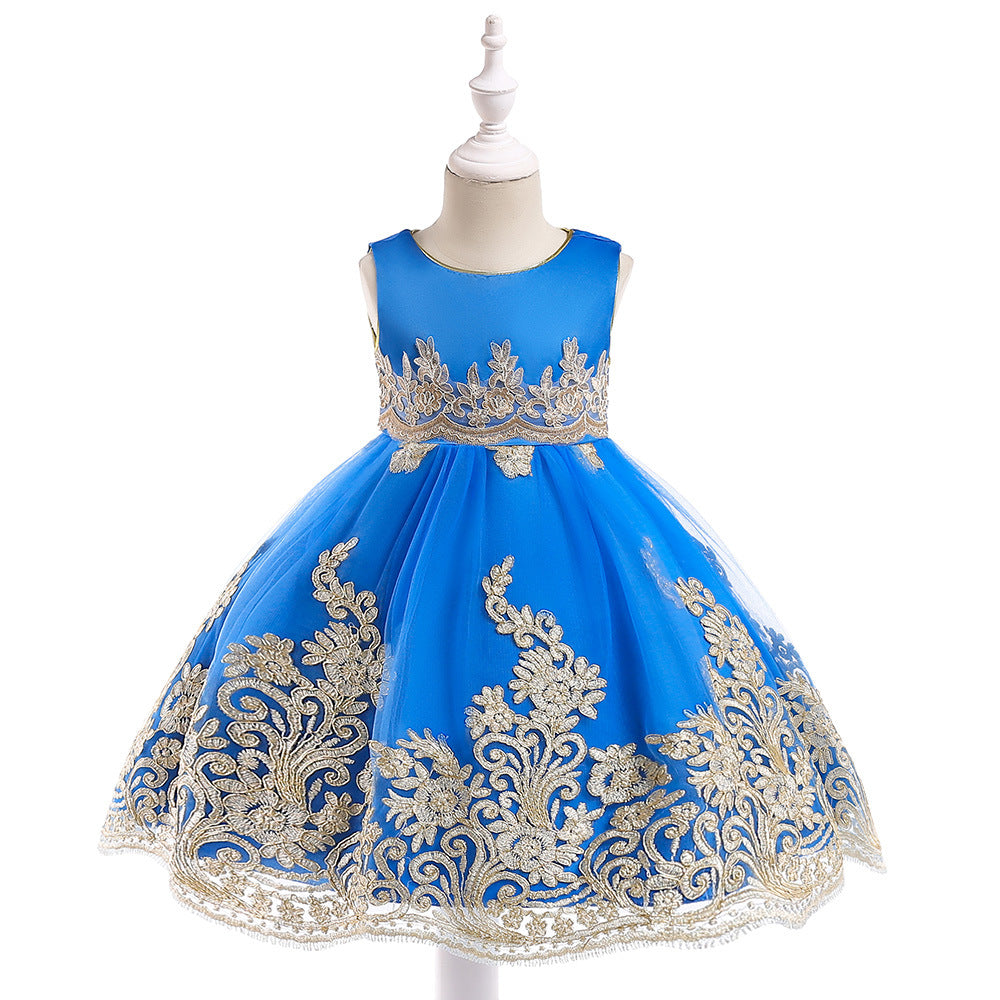 Girls Dress Gold Embroidery Princess Dress Flower Girl Dress