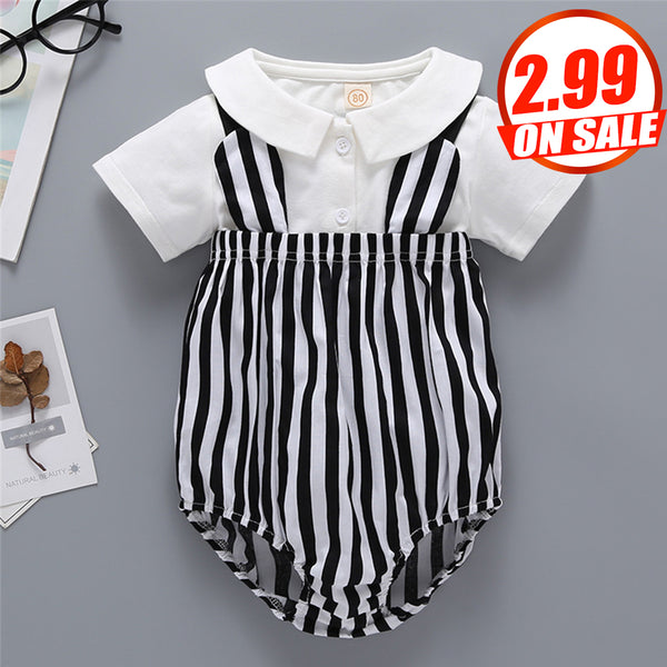 92PCS No Profit On Sale Clearance & Closeout Specials Baby Unisex Short Sleeve Lapel Top & Striped Romper Baby Outfits