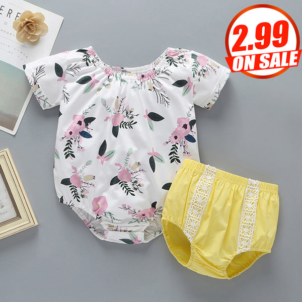 95PCS No Profit On Sale Clearance & Closeout Specials Baby Girl Short Sleeve Romper & Lace Shorts wholesale baby clothes