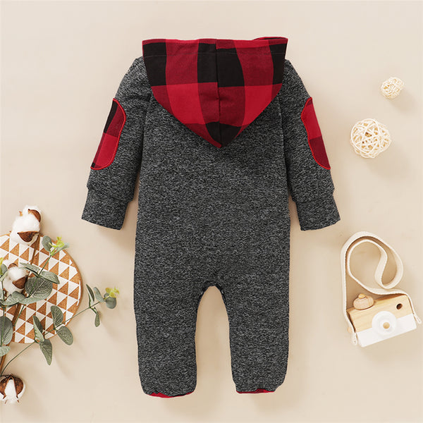 Baby Boys Long Sleeve Plaid Hooded Newborn Romper Wholesale Baby Boutique Items