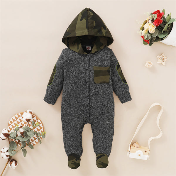Baby Newborn Camo Hooded Long Sleeve Romper Wholesale Baby Cloths