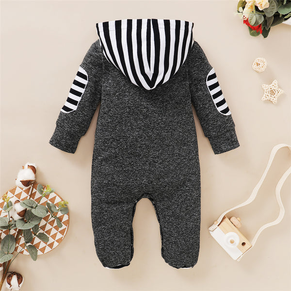 Baby Boys Newborn Striped Hooded Long Sleeve Romper Wholesale Designer Baby Clothes