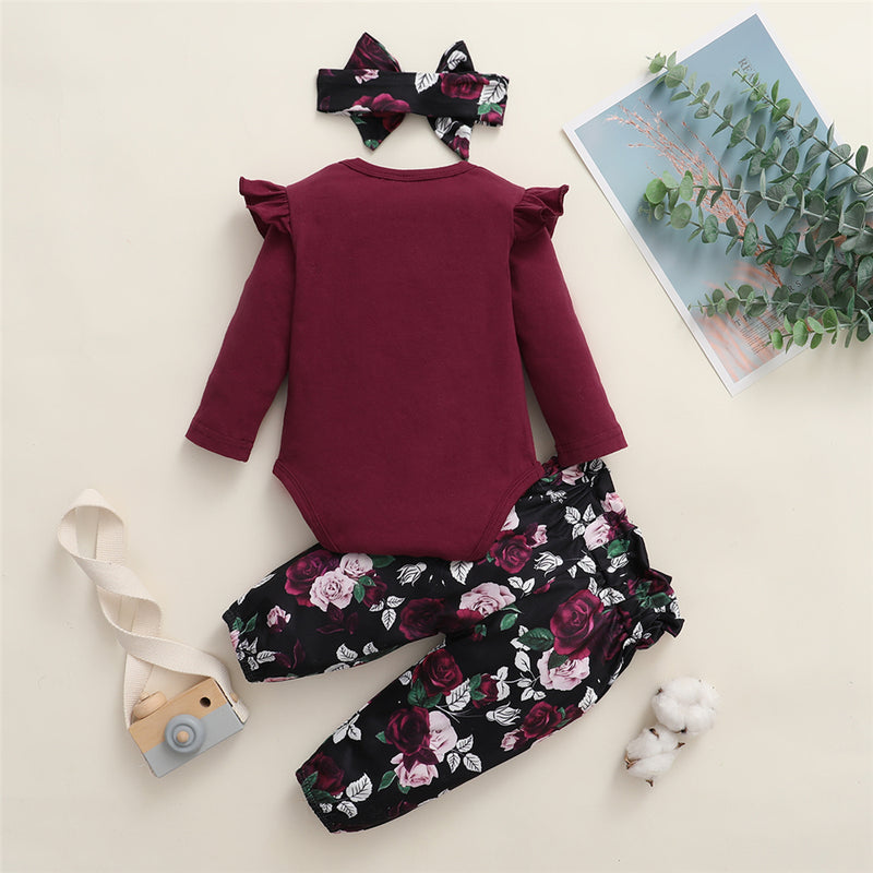 Baby Girls Solid Ruffled Long Sleeve Romper & Floral Printed Pants & Headband Baby Outfits