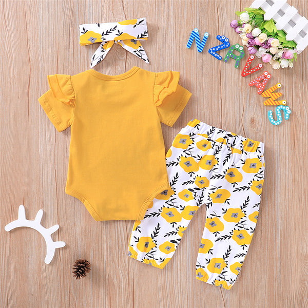 Baby Girls Letter Printed Short Sleeve Romper & Bow Floral Pants & Headband Baby Clothes Wholesale Bulk