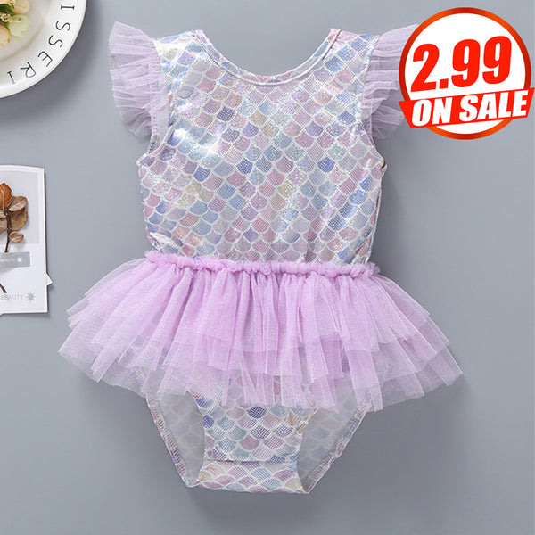97PCS No Profit On Sale Clearance & Closeout Specials Baby Girls Sequin Mesh Fish Scale Swimwear Wholesale Plus Size Swimwear