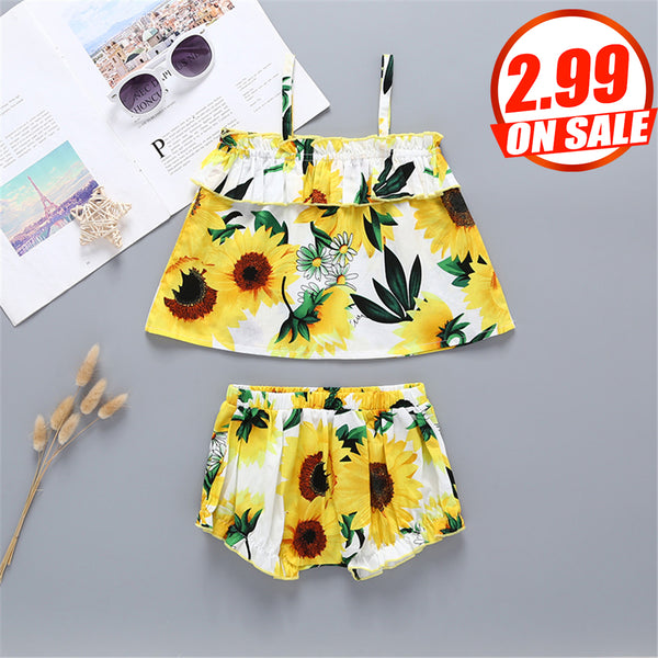 97PCS No Profit On Sale Clearance & Closeout Specials Baby Girls Sunflower Printed Tank Top & Shorts cheap baby girl clothes