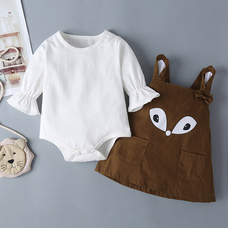 Stylish Baby Girls Flared Sleeve Top & Cartoon Fox Suspender Skirt