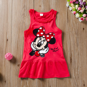 Cartoon Mickey Mouse Princess Skirt Ruffle Collar Tank Dress For Girls