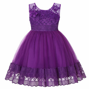 Girl Prom Dress Embroidered Dress Flower Girl Princess Wedding Dress