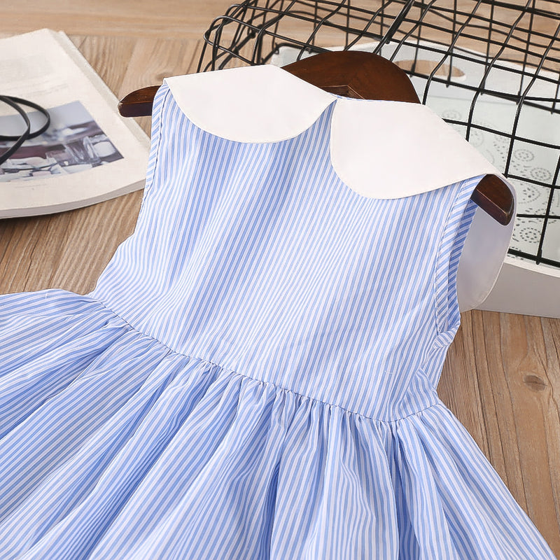 Girls Lapel Striped Dress Sleeveless Cherry Embroidered Princess Dress