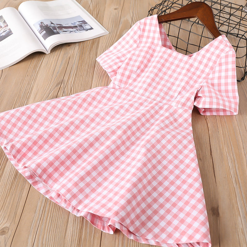 Toddler Girls Plaid Backless Dress Bow Princess Dress