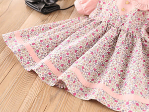 Girls Short Sleeve Floral Lapel Dress Princess Dress