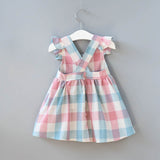 Fashionable Girls Strap Plaid Fly Sleeve Princess Dress
