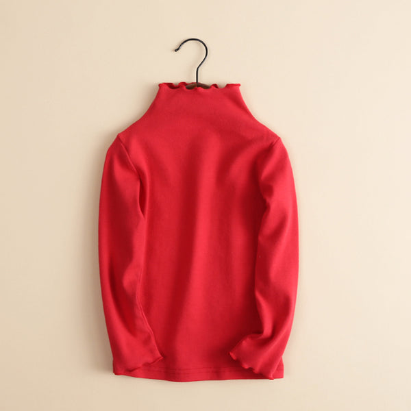 Girls Agaric High Neck Solid Color Long Sleeve Sweaters