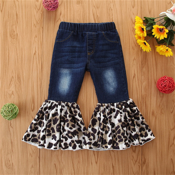 Girls All Season Leopard Elastic Flared Jeans Wholesale Girl Boutique Clothing