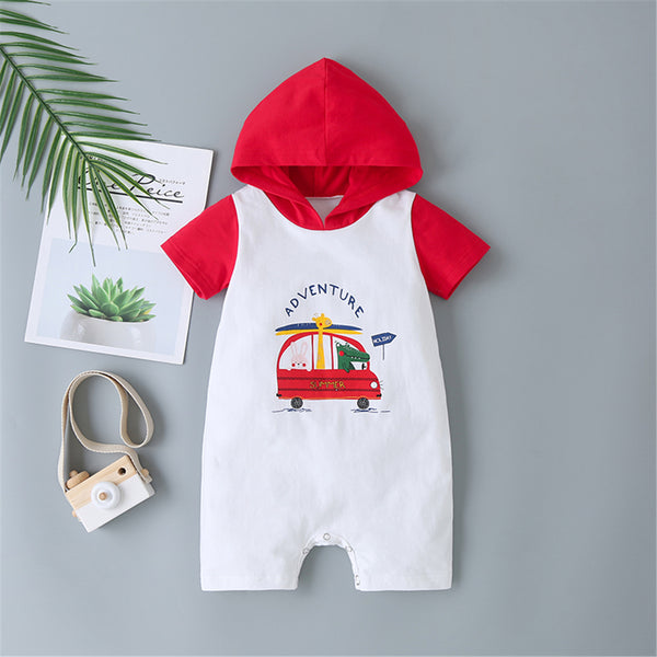 Baby Animal Cartoon Letter Printed Short Sleeve Hooded Romper Baby Clothing Wholesale