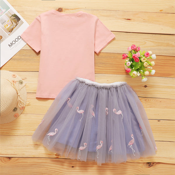 Girls Animal Cartoon Short Sleeve Top & Mesh Skirt wholesale kids clothing