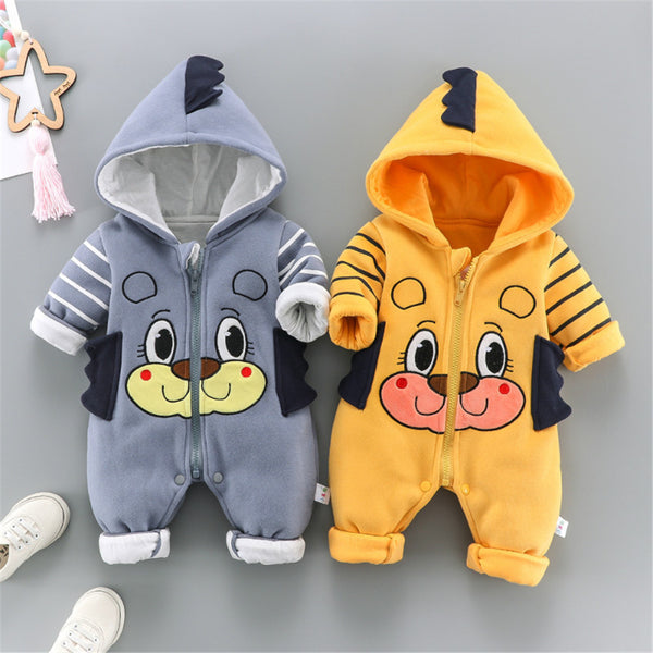 Baby Boys Animal Cartoon Striped Hooded Long Sleeve Romper Baby Wholesale