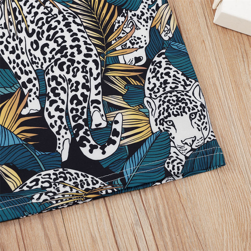 Boys Animal Leopard Leaf Printed Short Sleeve Top Boy Summer Outfits
