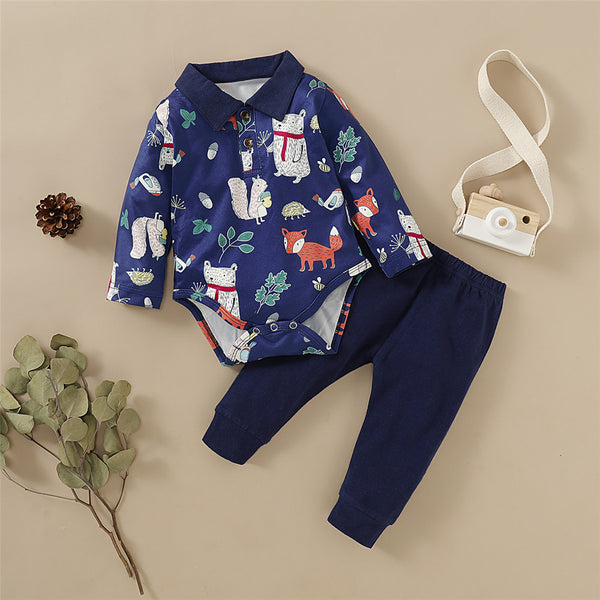 Baby Boys Animal Printed Lapel Long Sleeve Romper & Pants