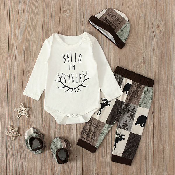 Baby Boys Animal Printed Letter Romper & Pants & Hat & Socks