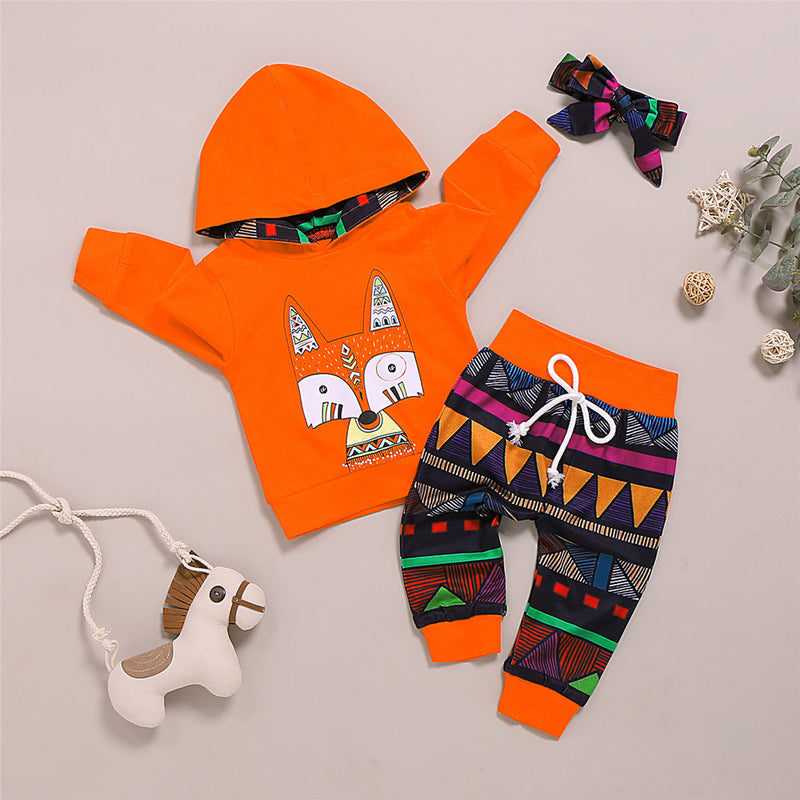 Girls Animal Printed Long Sleeve Hooded Jumper & Pants & Headband