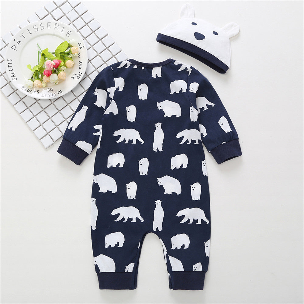 Baby Animal Printed Long Sleeve Romper & Hat