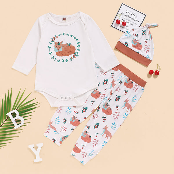 Baby Boys Animal Printed Long Sleeve Romper & Pants & Hat Bulk Baby Clothes Online