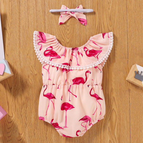 Baby Girls Animal Printed Lotus Leaf Collar Romper & Headband baby clothes wholesale usa