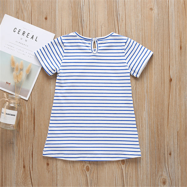 Girls Animal Printed Short Sleeve Striped Tops Wholesale Baby Girl Clothes