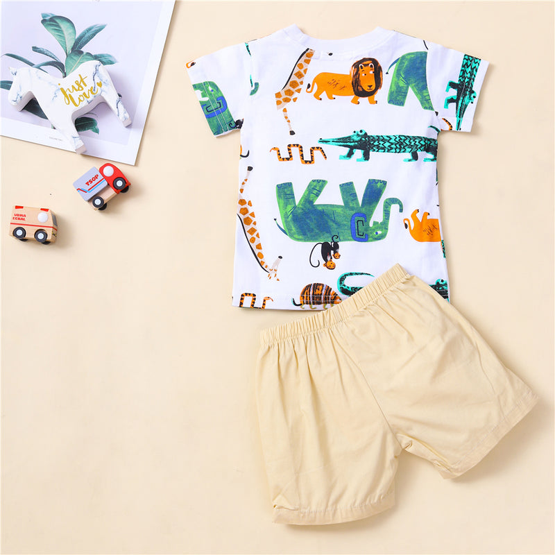 Baby Boys Animal Printed Short Sleeve T-shirt & Shorts Cheap Baby Clothes In Bulk