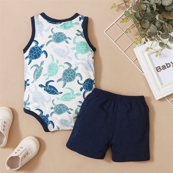 Baby Boys Animal Printed Sleeveless Romper & Shorts baby boy clothes wholesale