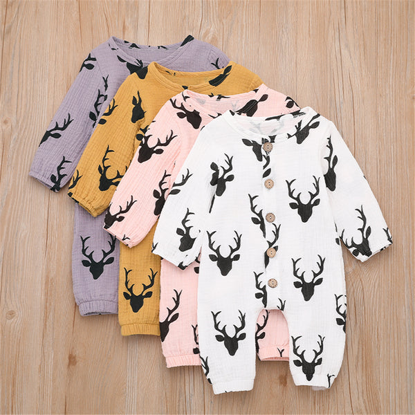 Baby Unisex Antlers Linen Button Long Sleeve Romper Wholesale Baby