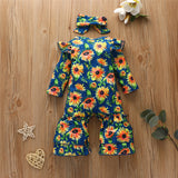 Baby Girls Autumn Floral Printed Romper & Headband