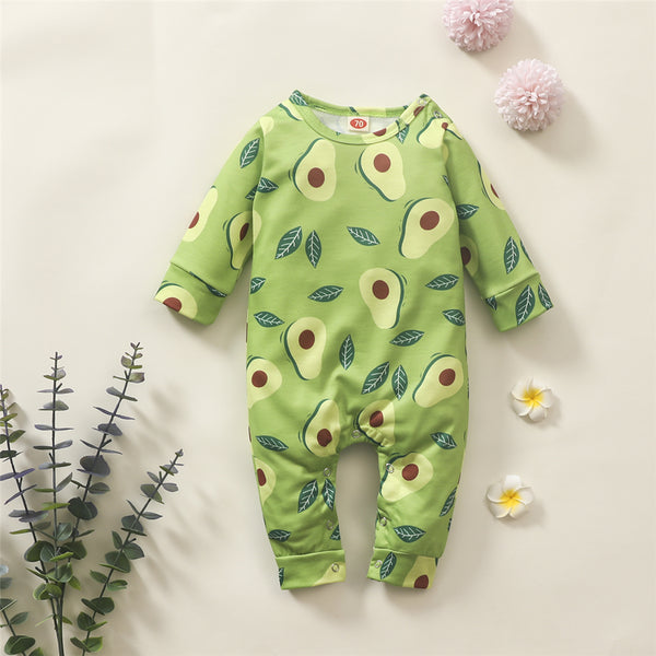 Baby Girls Avocado Pattern Long Sleeve Romper Baby Wholesale Clothing