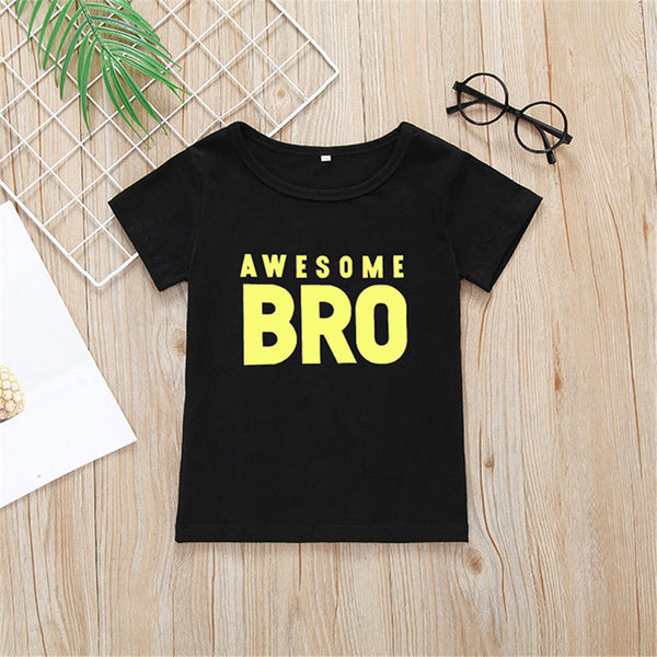 Boys Awesome Bro Printed Short Sleeve T-Shirts Baby Boy Boutique Wholesale