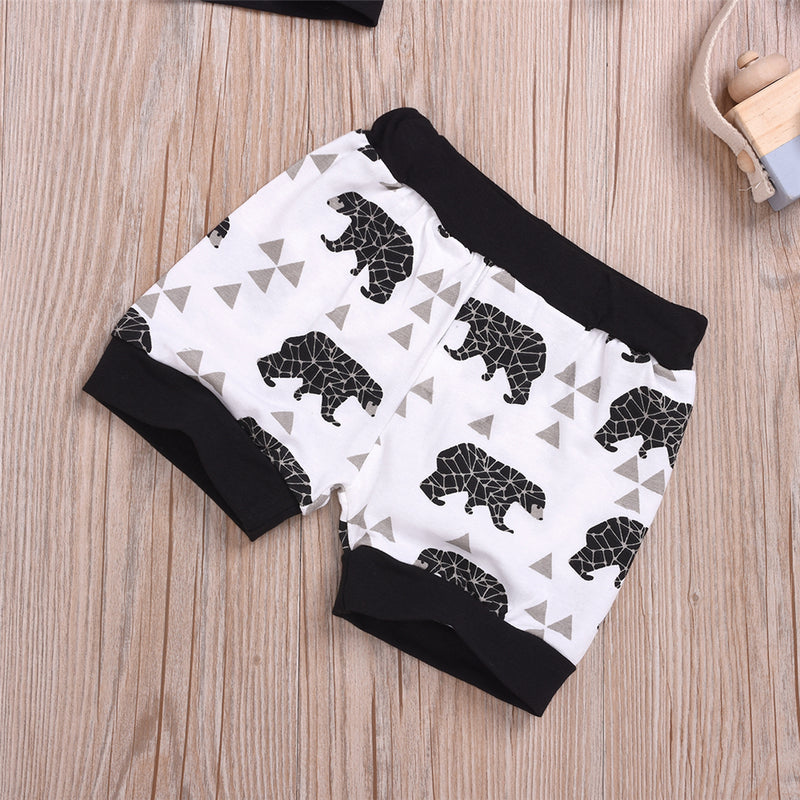 Baby Boys Awesome Letter Printed Short Sleeve Top & Bear Printed Shorts Baby Wholesale
