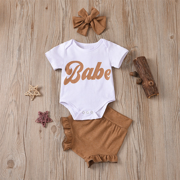 Baby Girls Babe Letter Printed Short Sleeve Romper & Shorts & Headband bulk baby clothes