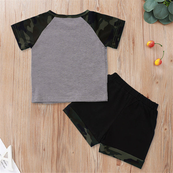 Baby Boy Gotta Stay Fly Short Sleeve Camo Top & Shorts Baby Boutique Wholesale