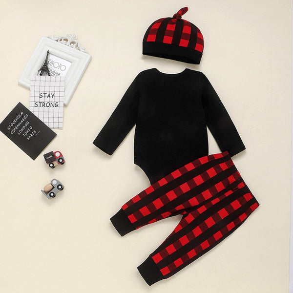 Baby Boy Letter Printed Romper & Pants & Hat Baby Wholesale
