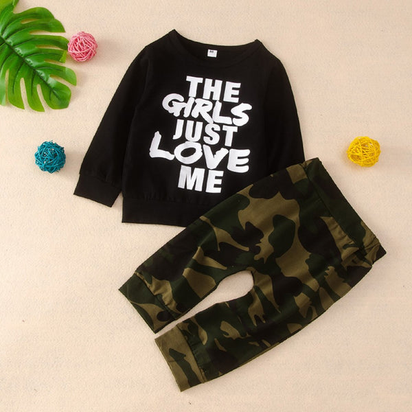Baby Boy Letter Printed Top & Pants Trendy Toddler Clothes Cheap