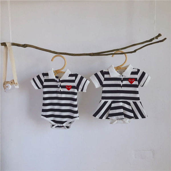 Baby Boy and Girl Twins Short Sleeves Love Striped One-piece Romper & Skirt Babywear Wholesale