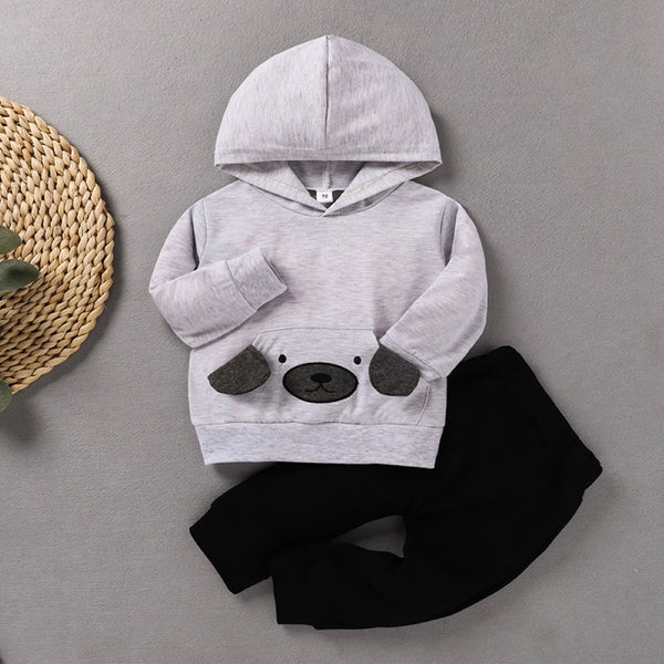 Baby Boys Bear Printed Hooded Top & Pants Boy Clothing Wholesale